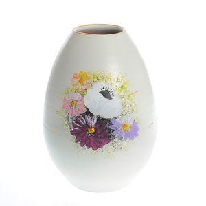 Vaza alba din ceramica cu flori multicolore 20 cm