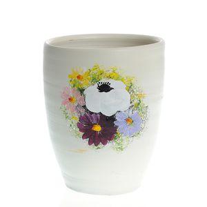 Vaza ceramica alba cu flori multicolore