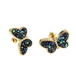 Cercei fluture cu pietre negre