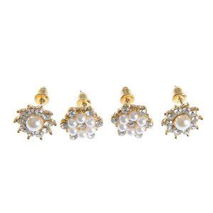 Set 2 perechi de cercei cu perle si pietre acrilice
