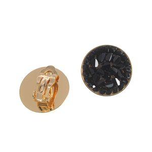 Cercei cu forma rotunda si pietre negre