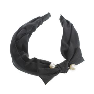 Bentita neagra cu funda si perle acrilice