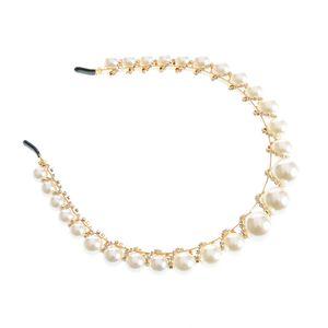 Bentita cu perle acrilice albe