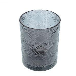Suport pentru lumanare negru din sticla
