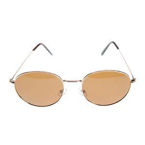 Ochelari de soare cu lentile rotunde si rama aurie