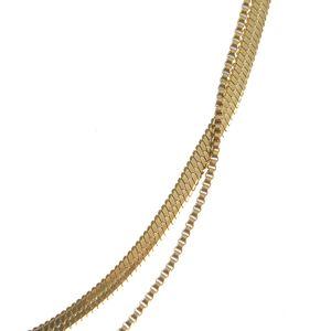 Colier dublu auriu din otel inoxidabil