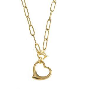 Colier auriu din otel cu pandantiv inima
