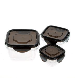 Set 3 caserole patrate cu capac negru
