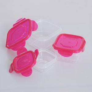 Set 3 caserole patrate cu capac roz