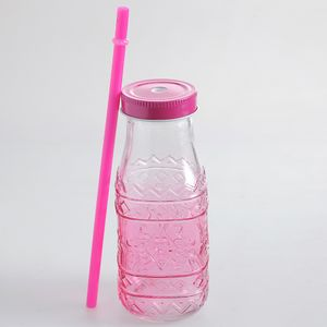 Sticla in nuante roz si model geometric