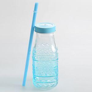 Sticla cu pai  in nuante bleu 320 ml