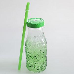 Sticla verde cu pai