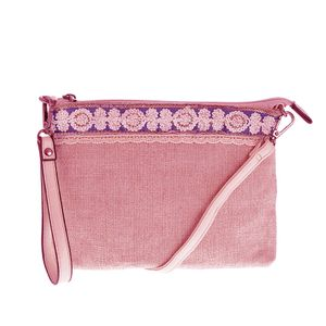 Geanta roz cu dantela si paiete