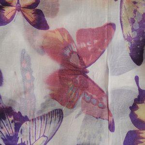 Esarfa alba din matase cu fluturi multicolori