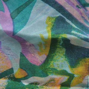 Esarfa verde din matase cu imprimeu floral