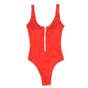 Costum de baie rosu cu fermoar alb