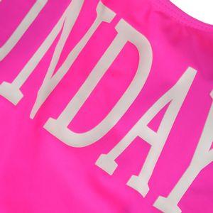 Costum de baie intreg roz cu mesaj