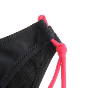 Slip de baie negru cu snururi roz