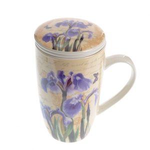 Cana cu infuzor si flori de Iris 400 ml