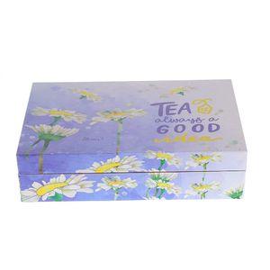 Cutie de ceai albastra si 6 compartimente  24 x 16 x 6cm