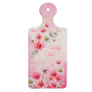Tocator roz cu flori si mesaj 10x22cm
