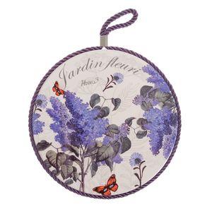 Suport ceramic rotund print flori liliac  19cm