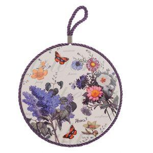 Suport ceramic pentru vase firbinti cu flori si fluturi 19cm