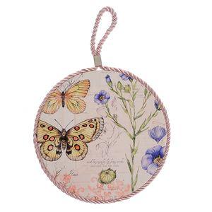Suport de vase din ceramica cu fluturi galbeni 17 cm