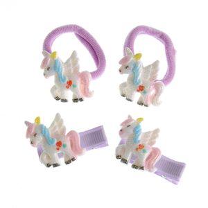 Set 4 accesorii de par cu unicorni