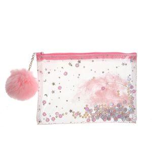 Portfard roz cu pompon si stelute
