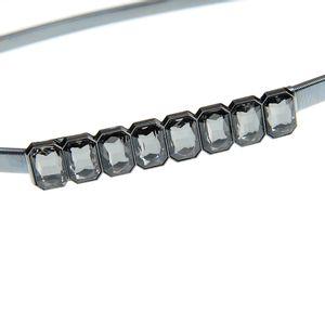 Curea elastica din metal cu pietre negre