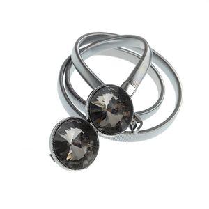 Curea metalica cu pietre acrilice negre