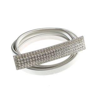 Curea argintie din metal cu pietre acrilice