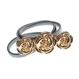 Curea elastica din metal si catarama cu trandafiri