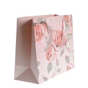 Punga de cadou roz cu trandafiri  40x33 cm