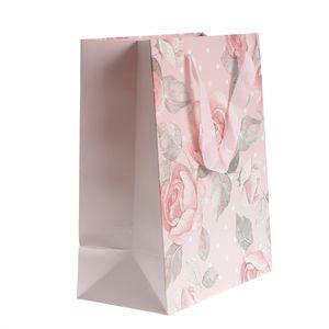 Punga roz cadou  cu trandafiri  33x26 cm