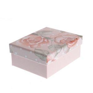 Cutie cadou roz cu trandafiri 8x10cm