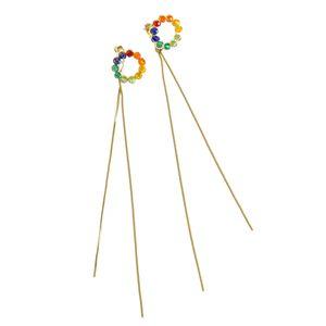 Cercei lungi cu pietre multicolore
