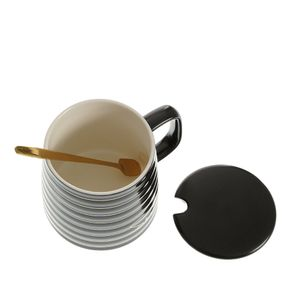 Cana neagra cu capac, lingurita si mesaj 300 ml
