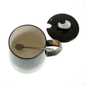 Cana neagra cu capac si lingurita 300 ml