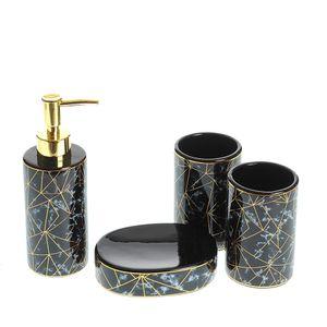 Set de baie 4 piese negru cu auriu