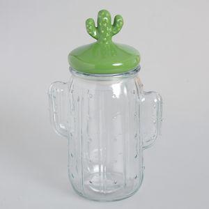 Borcan cu capac in forma de cactus 26 cm