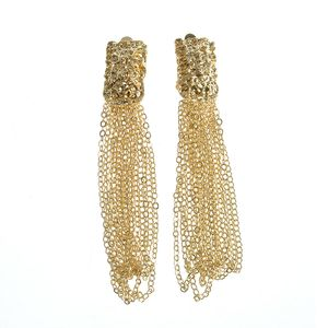 Cercei metalici cu siruri aurii