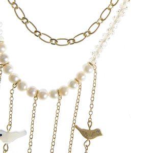 Colier dublu cu margele si perle
