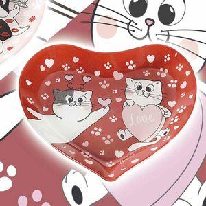 Platou rosu din sticla cu pisici