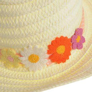 Palarie cu flori multicolore aplicate