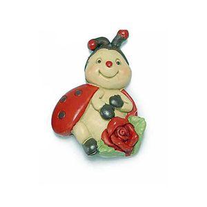 Magnet buburuza cu trandafir 5 cm
