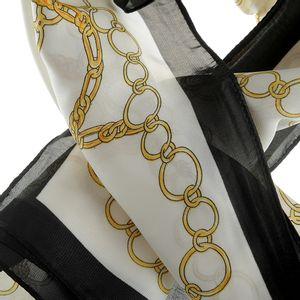 Esarfa alb cu negru si design auriu
