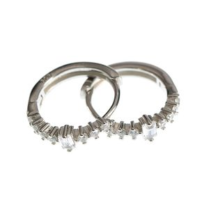 Cercei rotunzi din argint cu pietre zirconice
