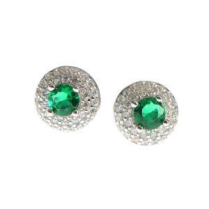 Cercei din argint cu piatra zirconica verde